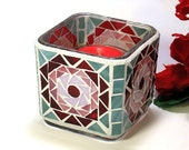 Stained glass mosaic votive candle holder red pink and green