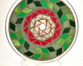 Stained glass mosaic pillar candle holder plate green pink and red flower