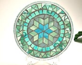 Stained glass mosaic pillar candle holder plate aqua