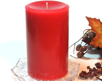 Red Pillar candle Hot Apple Pie scent 3x5