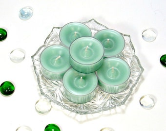 Tealight candles cucumber melon scent 6 pack mint green