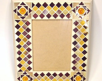 Stained glass mosaic picture frame gold burgundy