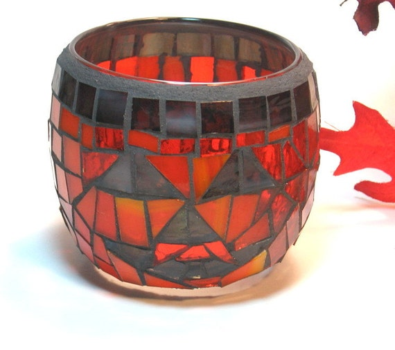 Stained glass mosaic candle holder pumpkin