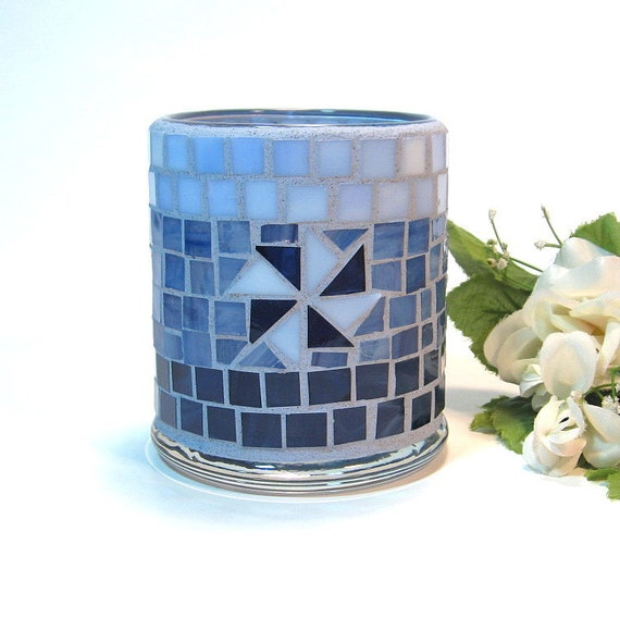 Stained glass mosaic candle holder shades of blue