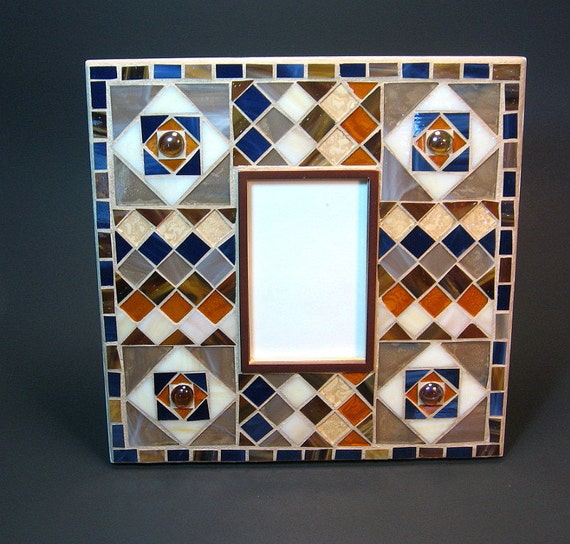 mosaic picture frame blue brown and amber stained glass
