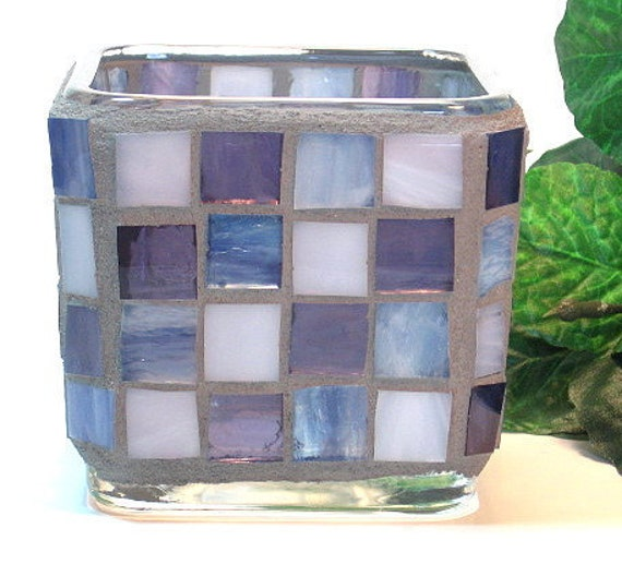 Stained glass mosaic votive candle holder blue violet