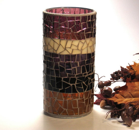 Stained glass mosaic vase or pillar candle holder plum amber brown