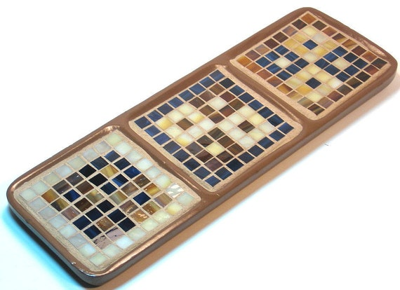 Stained glass mosaic three pillar candle holder navy blue brown tan and cream