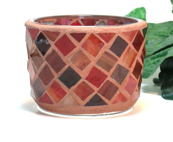 Stained glass mosaic tealight candle holder brown and brick red