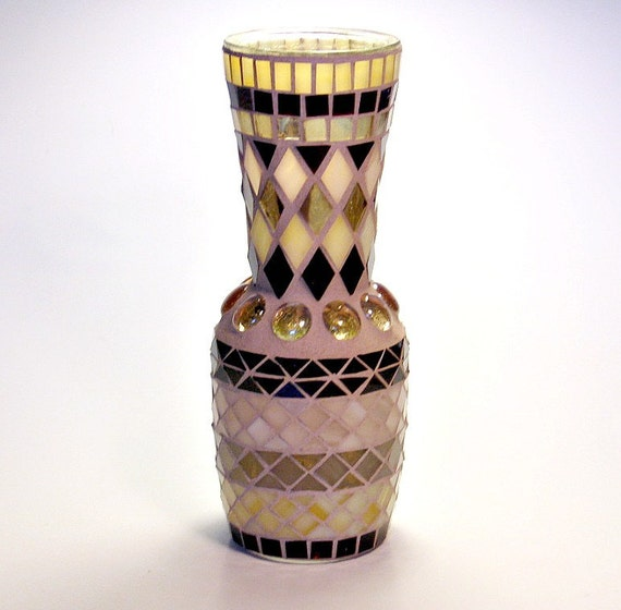 Stained glass mosaic vase brown gold champagne