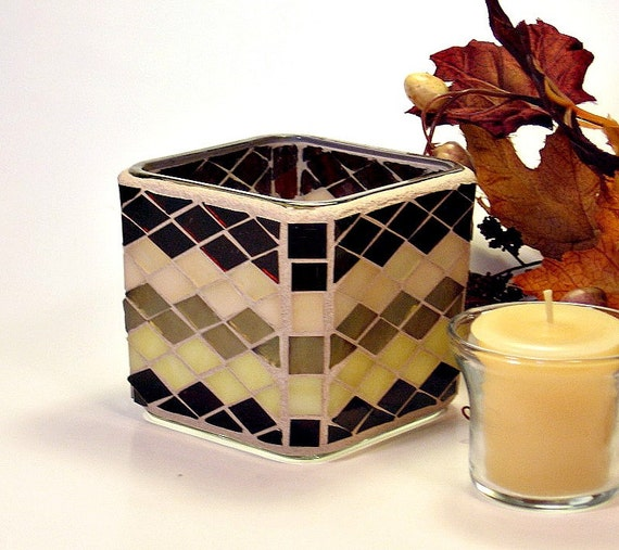 Stained glass mosaic votive candle holder brown, gold and champagne