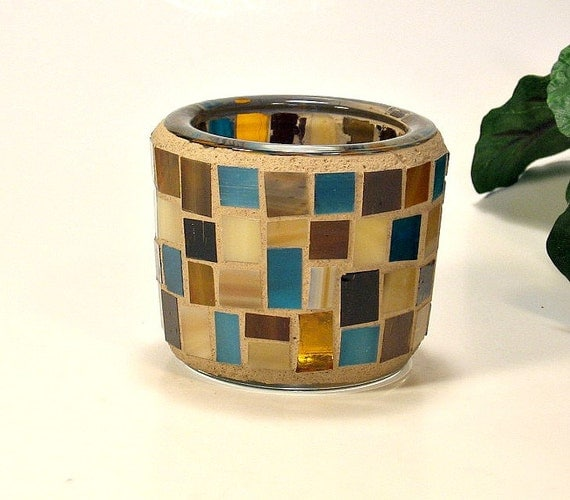 Stained glass mosaic tealight candle holder brown amber and turquoise
