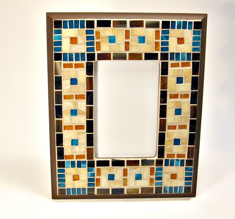 stained glass mosaic picture frame brown turquoise amber. Black Bedroom Furniture Sets. Home Design Ideas