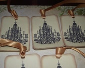 Chandelier   Gift   Tags  Glitter  And  Gold  Ribbon