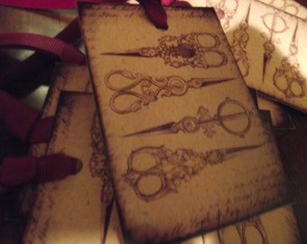 Cream  Color   Distress  Gift  tags   French   Writing Background Burgundy  Ribbon
