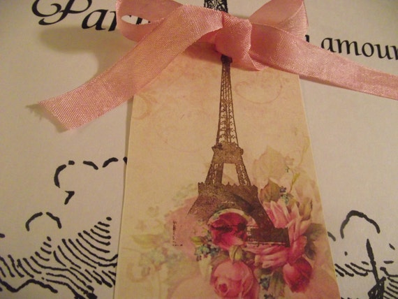 Pink  Roses  Handstamped  Eiffel Tower  Gift Card  With  Pink ribbon
