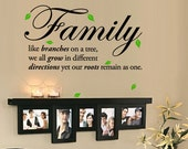 Family like branches on a tree, we all grow in different directions yet our roots remain as one. Vinyl Wall Quotes Decal