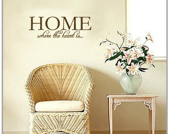 HOME where the heart is... - Vinyl Wall Quote Decal