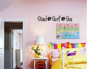 BIG Sand Surf Sun w/ hibiscus flowers - Vinyl Wall Quote Decal