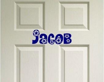 Door Decor Soccer Custom Name - Vinyl Wall Quote Decal