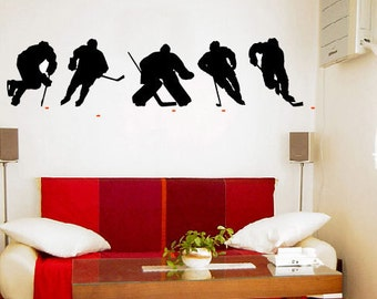 ICE HOCKEY PLAYERS Vinyl Wall Art Decal (2 Colors)