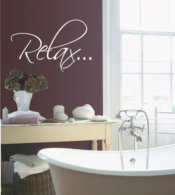 bath tub relax bathroom relax vinyl wall quote decal by idgrams