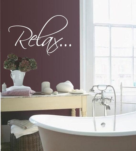 bath tub relax bathroom relax vinyl wall quote decal by idgrams