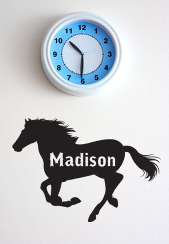 BIG HORSE w/ Custom Name - Vinyl Wall Quote Decal