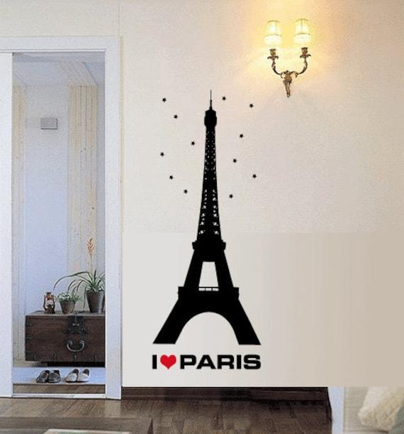 Torre Eiffel me encanta Paris etiqueta del arte de la por IDgrams