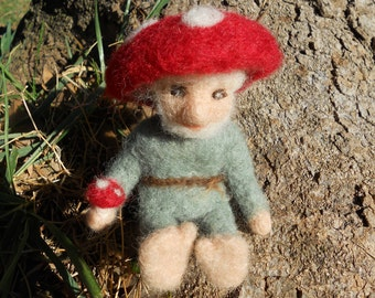 Needle Felted Mushroom Gnome / Waldorf Inspired Soft Sculpture Doll / Summer Nature Table Figurine / Woodland Gnome Fairy Toy