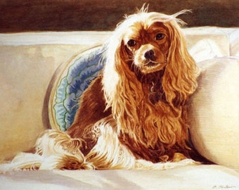 Cavalier King Charles Art, Dog Art, King Charles Cavalier Art, King Charles Spaniel, Cavalier King Charles Spaniel Watercolor by P. Tarlow