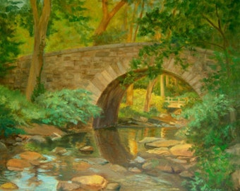 Oil Landscape Art, Stone Bridge Print, WaterArt, Landscape Art Print, Bridge and Stream Art, Home Decor Wall Art, by P. Tarlow
