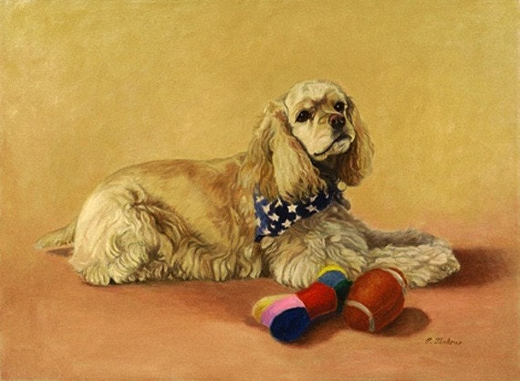 Cocker Spaniel Art, Cockerspaniel With Toys Print, Dog Art Print, Cockerspaniel Portrait, Dog Oil Painting by P. Tarlow