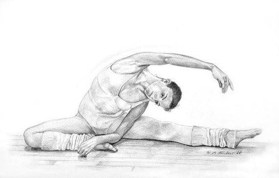 Ballet Dancer Stretching B&W Print Matted Or By PTarlowArt