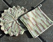 Dishcloth and Matching Potholder - Handmade Crocheted Durable - Green, tan & cream colors