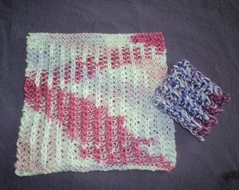 Dishcloth & Scrubbie - Square Knitted Dishcloth with Matching Scrubbie