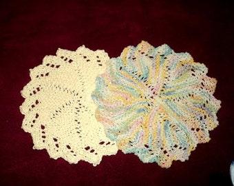 Dishcloths - Round Handmade knitted Dishcloths - Set of 2 - Sunflower & Multi