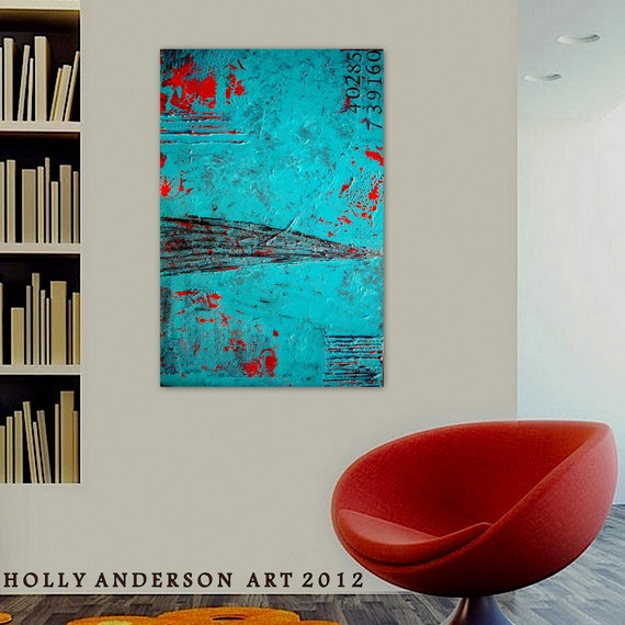 RESERVED for ANNE - Warehouse - a Large Original Contemporary Abstract Painting, Heavy Texture  by Holly Anderson Art