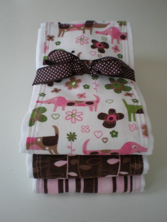 3 Pack Premium Burp Cloths Pink and Brown Puppies