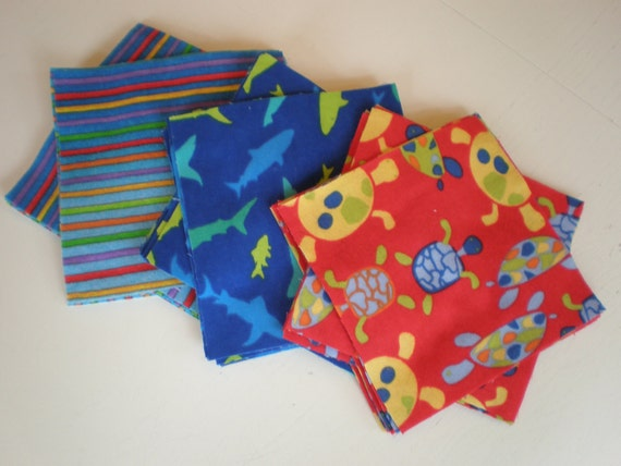 """Pack of 45 Cotton Flannel 6""""x6"""" Quilt Squares in a Turtle, Shark and Stripe Print"""