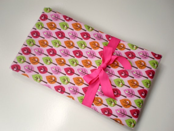 Extra Large Receiving Blanket or Nursing Cover in a Bright Pink, Brown and Green Birds in Trees Print
