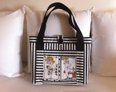 Striped Tote with Loralie Design front pocket