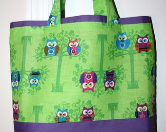 Childrens Owl Lined Cotton Tote Bag