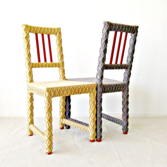 2 Bride & Groom Chairs, Rustic Shabby Chic Wedding, Upcycled Furniture, Crochet Decor, Eco-Friendly Fiber Art by Knits for Life
