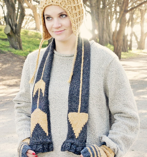 Eco Gold Arrow Knitted Scarf in Recycled Yarn w Charity Tree Donation, Geometric Fashion Accessory, Charcoal Grey Mustard Yellow, Mockingjay