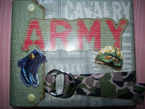 Army Envelope Mini Album 4x5 Premade  CLEARANCE