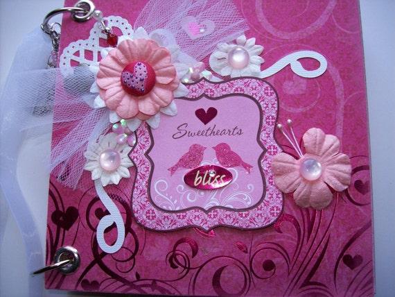 Chipboard Scrapbook Mini Album Sweethearts Bliss Pink PREMADE