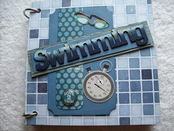 Swimming Chipboard Scrapbook Mini Album PREMADE PAGES