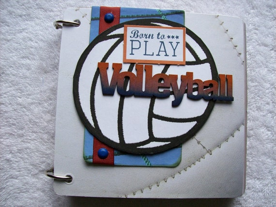 Volleyball Mini Chipboard Scrapbook Album PREMADE PAGES