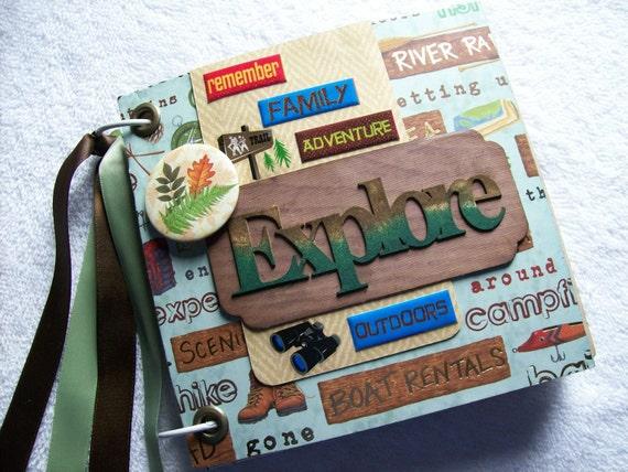 Explore Camping Nature-Adventure Chipboard Mini Album 6x6 Premade